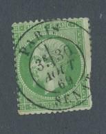 FRANCE - N°20 OBLITERE CAD PARIS SENAT DU 30/8/1869 PIQUAGE OUEST - 1862 - 1862 Napoléon III.