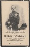 Souvenir Mortuaire Kleber Falleur ( Macon ) ... Combattant, Décédé Le 25 Août 1914 - Esquela