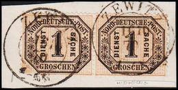 1870. NORDDEUTSCHER POSTBEZIRK. DIENST SACHE 1 GROSCHEN. Pair ZEWITZ 16 10 70. () - JF320132 - North German Conf.
