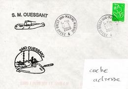 SOUS MARIN OUESSANT 2 Cachets Du Bord Différents Obl. Brest Sous Marins Marine 27/03/06 - Naval Post