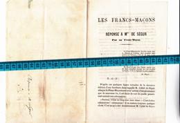 27 - GISORS Et 95 - PONTOISE - LES FRANCS-MACONS - Réponse à Monseigneur DE SEGUR + Reçu De 25cts Prix Brochure Voir Des - Vieux Papiers