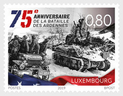 LUXEMBOURG, 2019, MNH,  WWII, BATTLE OF ARDENNES, TANKS, 1v - WW2