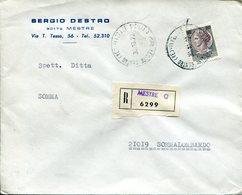 Italia (1972) - Raccomandata Da Mestre (VE) - 6. 1946-.. Repubblica