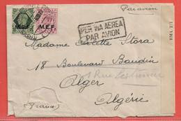 LIBYE FORCES BRITANNIQUES LETTRE CENSUREE DE 1946 DE TRIPOLI POUR ALGER ALGERIE - Libia