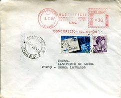 Italia (1967) - Busta Doppio Porto Da Concorezzo (MI) - 6. 1946-.. Repubblica