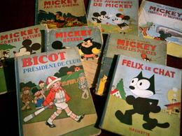 Lot De Livre Ancien    Mickey  Bicot  Felix Le Chat   Un Total De 8 Livres - Lots De Plusieurs BD