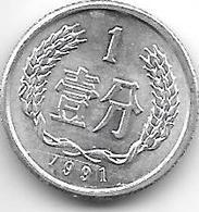 China 1 Fen  1991  Km 1  Unc - China