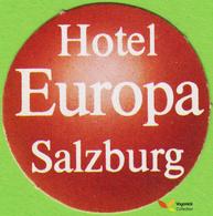 Voyo HOTEL EUROPA Salzburg Austria Hotel Label  Sticker 1980s Vintage Mini - Etiquettes D'hotels