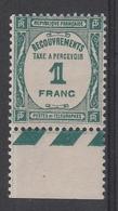TAXE 60** - 1f. Bleu-vert - 1859-1955.. Ungebraucht