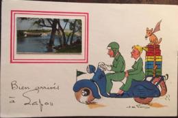 """CPA, """"bien Arrivés à LAPAN"""" (Cher, 18), Illustrateur Signé Jean De PREISSAC, Couple Sur Scooter Avec Chien, 1964 - France"""