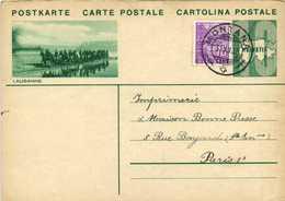 ENTIER POSTAL 10  HELVETIA + Timbre 10 LAUSANNE Cavalers + Beau Cachet MONTANA    RV - Postwaardestukken