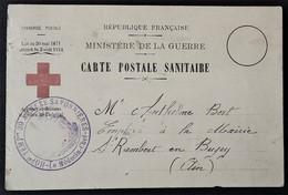 Carte De Franchise Militaire CARTE POSTALE SANITAIRE Typographie Inhabituelle Hôpital Temporaire N°39 Savonnières - Postmark Collection (Covers)