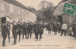 1911 - LA REVOLTE DES VIGNERONS EN CHAMPAGNE - A VIVIERS, RASSEMBLEMENT DES OFFICIERS DU 26° DRAGONS - CAVALIERS - PEU C - France