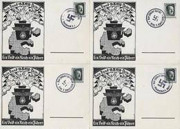 Deutsches Reich 1938 - 4 Postkarten - Anschluss Österreich Mit Sonderstempeln Von Klagenfurth - Graz - Innsbruck - Linz - Briefe U. Dokumente