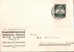 ! 1 Beleg 1935 Aus Mellenbach Im Schwarzatal In Thüringen, Autograph, Bürgermeister - Allemagne