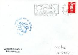 SOUS MARIN OUESSANT Cachet Du Bord Obl. Lorient Naval 10/09/93 - Naval Post