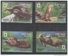 VIETNAM , 2016, MNH, WWF, OTTERS,  4v - Unclassified