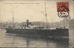 YT 138 Semeuse Camée 10ct Rouge CAD Marseille Ligne D'Aler 15 5 08 CPA Cie Générale Transatlantique La Ville D'Alger - Poste Maritime