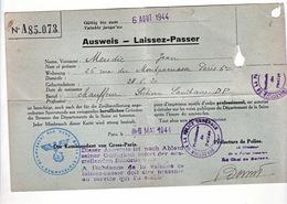 Laissez Passer Ausweis 1944 Von Gross Paris Tampon Allemand WW2 - Dokumente