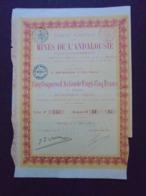 ESPAGNE - STE NOUVELLE DES MINES DE L'ANDALOUSIE - TITRE DE 5 COUPURES D'ACTIONS DE 25 FRS - BRUXELLES 1890 - Unclassified