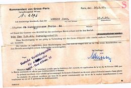 Laissez Passer Ausweis 1943 Von Gross Paris WW2 - Dokumente