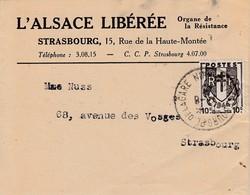 Bande-journal Affr Y&T 670 Obl STRASBOURG PL DE LA GARE Du 7.8.45 Adressée à Strasbourg - Alsazia Lorena