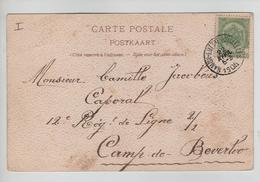 139PR/ TP 56 S/CP Dessinée Huy C. Ambulant Namur-Luttre-Bruxelles 22/4/1905 > Militaire Camp De Beverloo - Postmark Collection