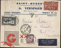 Enveloppe Illustrée St Hubert G Versinger Mâitre Armurier YT Maroc 162 + Ae 36 + Taxe France 42 CAD Meknès Médina 5 5 39 - Marokko (1891-1956)