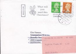 Great Britain Slogan 'Christmas' LONDON South 1998 Cover Brief BRØNDBY STRAND (Arr.) REadressed 2x QEII Security Perf. - 1952-.... (Elizabeth II)