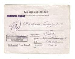Kgf Post 08.5.?? Nach Niort Aus Hannover Dachdecker Bataillon - Bataillon Couvreur Prisonnier De Guerre - Marcophilie (Lettres)
