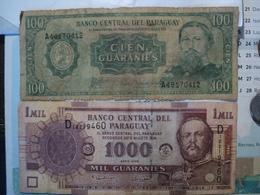 PARAGUAY. LOT DE 2 BILLETS DE BANQUE. 100 / 1000 GUARANIES. ANNEES 80 ? / 2005 - Paraguay