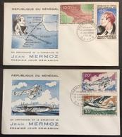 AFS28 Sénégal Jean Mermoz Disparition  Poste Aérienne 20 35 100 150 F 7/12/1966 FDC Premier Jour Lot 2 Lettre - Sénégal (1960-...)