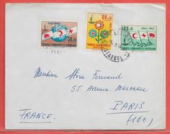 TURQUIE LETTRE DE 1965 DE ISTANBOUL POUR PARIS FRANCE CROIX ROUGE - Storia Postale