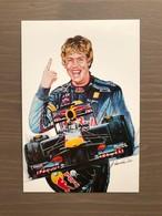 Cartolina Del 2010 Dedicata A Sebastian Vettel Da Un Dipinto A Tempera Di Giovanni Cremonini - Grand Prix / F1