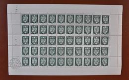 Feuille Complète De 50 Timbres FRANCE 1942 N°556 ** (ARMOIRIES DE VILLES 2ÈME SÉRIE. ORLÉANS. 1F + 1F30 VERT) - Full Sheets