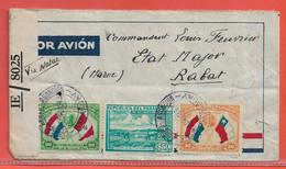 PARAGUAY LETTRE CENSUREE PAR AVION DE 1943 DE ASUNCION POUR RABAT MAROC - Paraguay