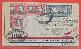 PARAGUAY LETTRE CENSUREE PAR AVION DE 1939 DE ASUNCION POUR LA FRANCE - Paraguay