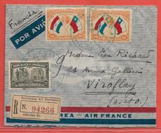 PARAGUAY LETTRE RECOMMANDEE CENSUREE PAR AVION DE 1939 DE ASUNCION POUR VIROFLAY FRANCE - Paraguay