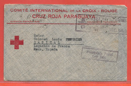 PARAGUAY LETTRE EN FRANCHISE CROIX ROUGE DE 1943 DE ASUNCION POUR LEGATION DE FRANCE ESPAGNE - Paraguay