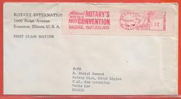 ETATS UNIS LETTRE OBLITERATION MECANIQUE ROTARY DE 1957 DE EVANSTON POUR PARIS FRANCE - Postal History