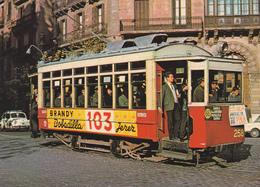 """Tranvia Nº 258 Construido En 1914 --Calle Muntaner/Gran Via--Diciembre De 1963-""""Brandy 103"""" - Tranvía"""