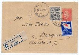 1951 YUGOSLAVIA, CROATIA, SPLIT TO BELGRADE, TITO, 3 DINAR STAMP + RED CROSS STAMP, REGISTERED STATIONERY COVER, USED - Enteros Postales