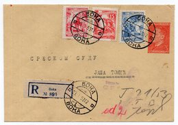 1953 YUGOSLAVIA, SERBIA, BOKA-BANAT TO JASA TOMIC, TITO, 3 DINAR STAMP, REGISTERED STATIONERY COVER, USED - Postal Stationery