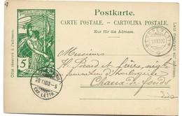 28 - 51 - Entier Postal UPU Avec Cachets à Date De Beurnevesin Et Chaux-de-Fonds 1900-petite Déchirure - Entiers Postaux