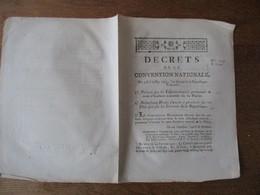 DECRETS DE LA CONVENTION NATIONALE DES 4 & 6 JUILLET 1793 PORTANT QUE LES ENFANTS TROUVES PORTERONT LE NOM D'ENFANTS NAT - Décrets & Lois