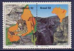 Capivara Mountain National Park Big Cat Bird Brasil MNH 2 Stamps 1992 - Roofkatten