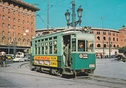 Tranvia - Coche 886 Serie 860-889--construido Can Girona Año 1924--Foto Plaza España En Diciembre 1963 - Tranvía