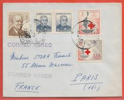 CHILI LETTRE RECOMMANDEE DE 1963 DE SANTIAGO POUR PARIS FRANCE CROIX ROUGE - Chili
