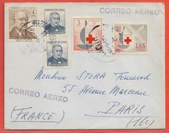 CHILI LETTRE DE 1965 DE SANTIAGO POUR PARIS FRANCE CROIX ROUGE - Chili