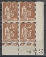France - Coin Daté 3.12.36 - YT 282 ** MNH - Type Paix - 1930-1939
